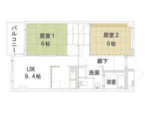 404号室「縦格子の広がり」間取図